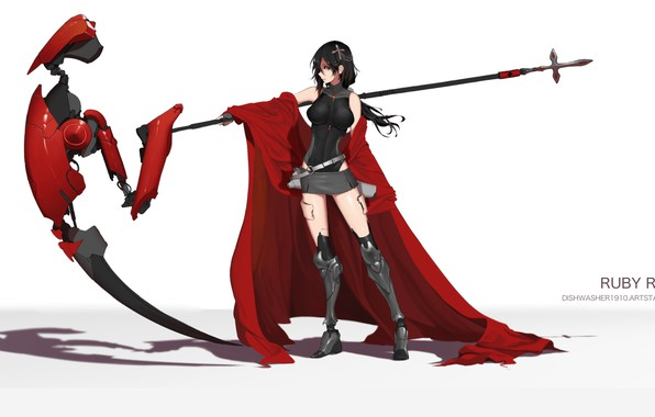Picture girl, weapons, braid, RWBY