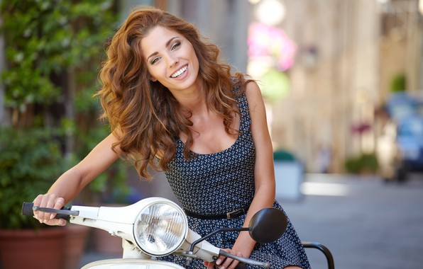 Picture look, smile, mood, woman, beauty, beautiful, scooter, style, equipment, ammunition, bokeh, wallpaper., beautiful background, Isabela, …