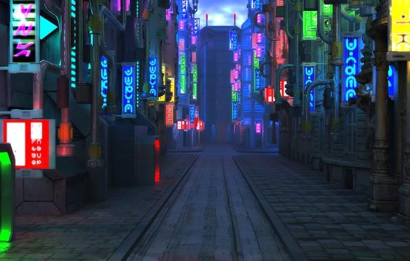 Photo wallpaper street, the sidewalk, Blade Runner Future City