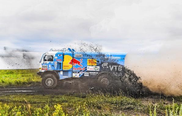 Photo wallpaper Grass, Sport, Speed, Race, Master, Dirt, Squirt, Russia, 300, Kamaz, Rally, Rally, KAMAZ, Master, Silk ...