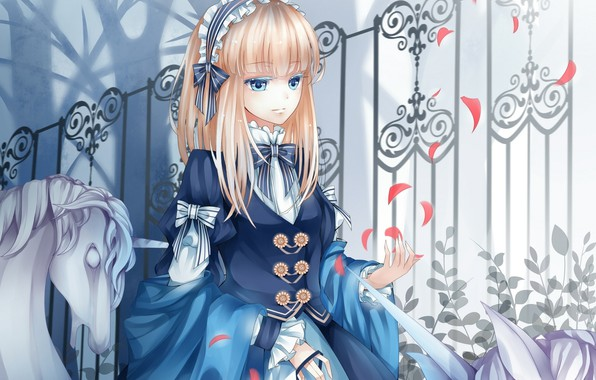 Picture fence, petals, dress, unicorn, girl, bows, blue eyes, shawl, bangs, in the Park, bezel