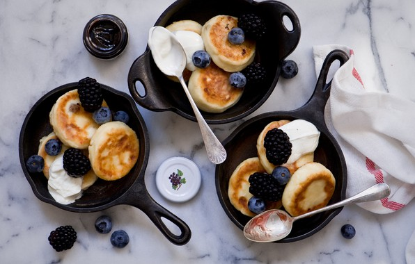 Picture berries, Breakfast, blueberries, pancakes, cakes, BlackBerry, jam, sour cream, Anna Verdina