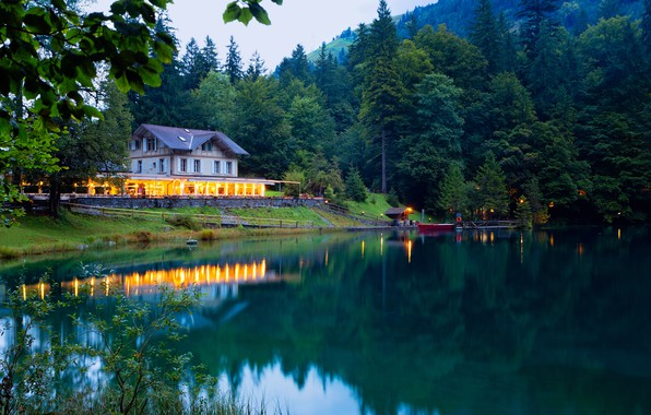 Picture greens, forest, trees, mountains, lights, lake, house, boat, the evening, Switzerland, pier, Kandersteg Valley