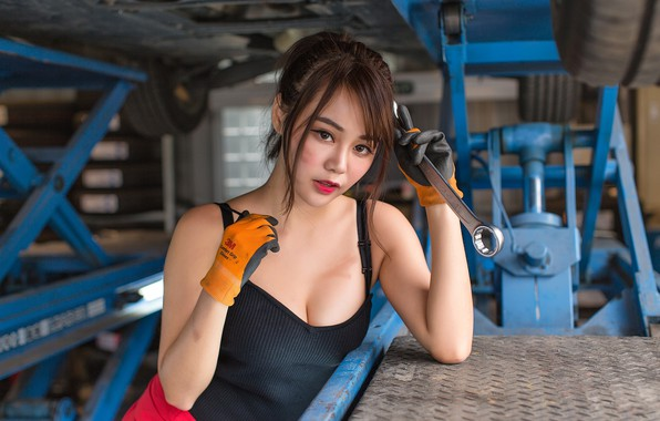 Picture look, girl, sexy, key, Asian, garage