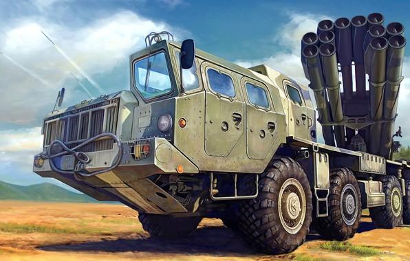 Picture Tornado, MLRS, 9K58, Russian jet system of volley fire, 300 mm