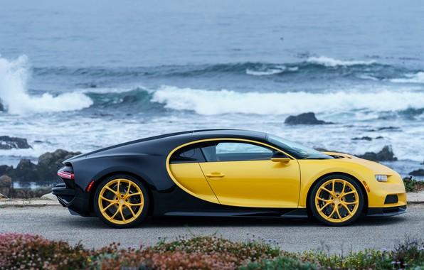 Picture coast, Bugatti, 2018, Chiron, Yellow and Black
