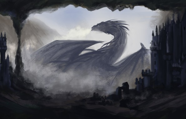 Picture darkness, dragon, home, fantasy, art, profile