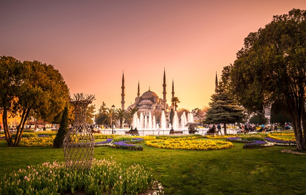 Picture trees, flowers, Park, lawn, the evening, tower, fountain, temple, Istanbul, Turkey, Palace, The blue mosque