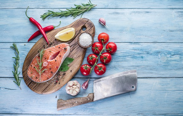 Picture lemon, fish, knife, Board, pepper, tomatoes, fish, spices, tomatoes, spices