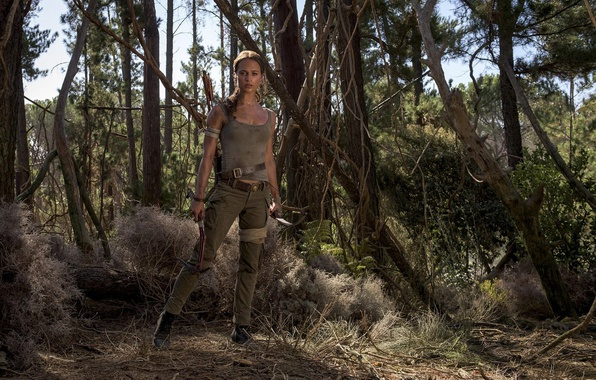 Picture cinema, Tomb Raider, girl, forest, woman, movie, 2018, Lara Croft, film, Alicia Vikander