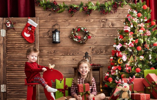Picture decoration, joy, children, photo, mood, toys, tree, girl, lantern, gifts, New year, decor