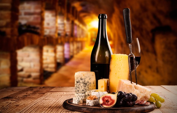 Picture table, wine, glass, bottle, walnut, grapes, Board, plug, sausage, the basement, bokeh, cheese, appetizer, figs, …