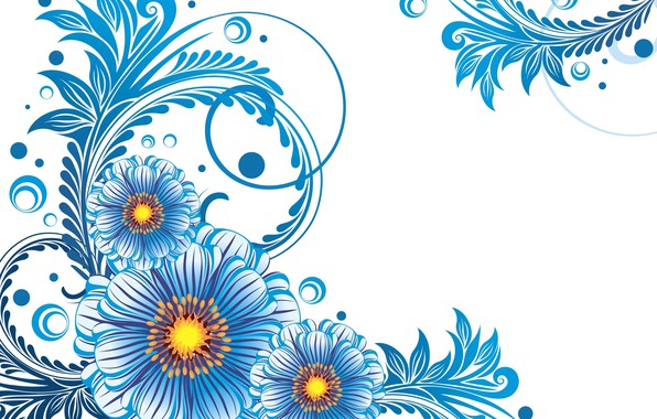Picture flowers, pattern, texture, white background