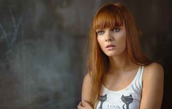 Picture look, girl, portrait, Mike, red, bangs, Michel Keppens