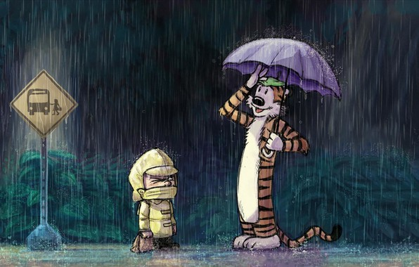Picture tiger, rain, toy, boy, stop, road sign, comic, Calvin and Hobbes, raincoat, Calvin and Hobbes, …