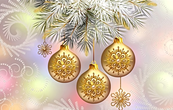 Picture light, decoration, snowflakes, rendering, holiday, figure, New Year, spruce branch, gold beads