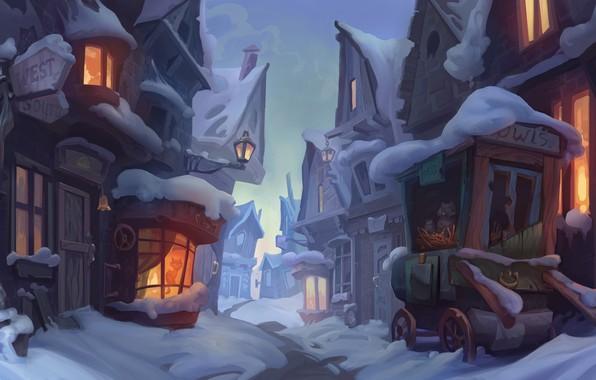 Picture winter, snow, street, the evening, art, town, children's, Hogsmid-enviroment concept, Veronika Firsova