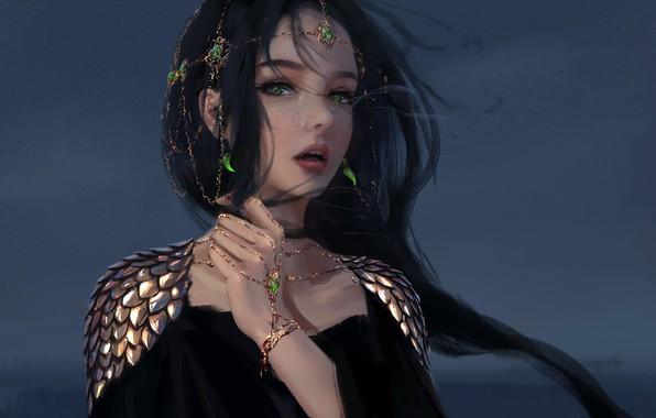 Picture girl, fantasy, green eyes, face, brunette, elf, digital art, artwork, princess, fantasy art, freckles, open …
