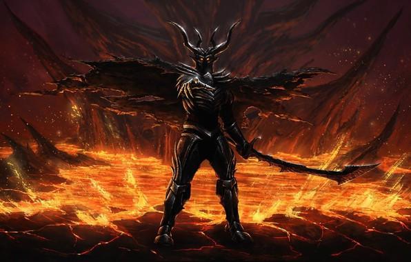 Picture sword, armor, devil, ken, blade, evil, oni, bakemono