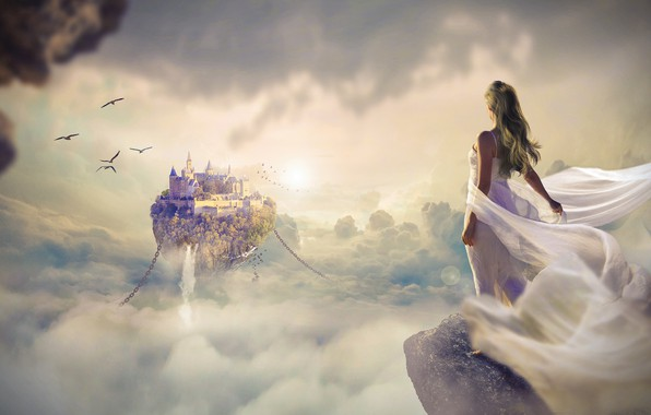 Picture the sky, dream, girl, clouds, light, flight, birds, the city, fog, rock, rendering, castle, fantasy, …