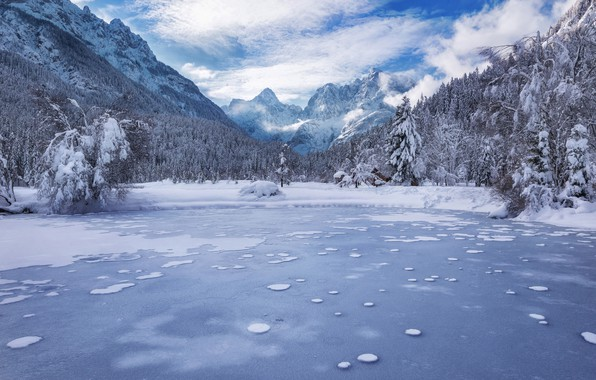 Picture winter, forest, mountains, lake, Slovenia, Slovenia, Kranjska Gora, Lake Jasna, Kranjska Gora, The Julian Alps, …