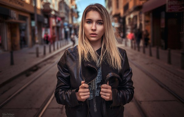 Picture the city, pose, background, street, model, portrait, home, makeup, jacket, hairstyle, blonde, is, in black, …