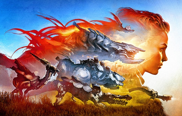 Photo wallpaper Art, Sony, Aloy, Horizon: Zero Dawn, PS4