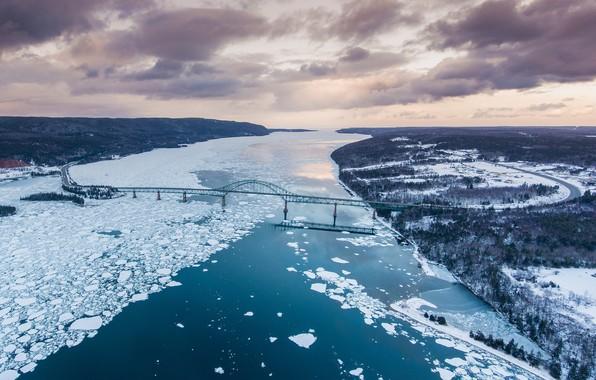 Picture bridge, ice, Canada, panorama, channel, Canada, Nova Scotia, Nova Scotia, Seal Island Bridge, The island …