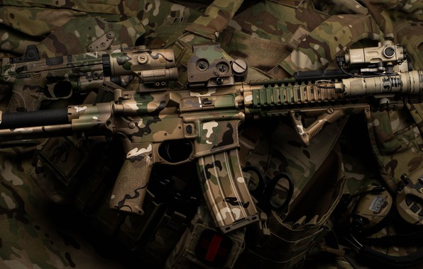 Picture design, background, camouflage, carabiner, assault rifle