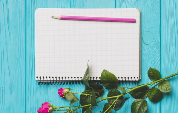Picture flowers, roses, spring, Notepad, pencil, Board, buds, wood, flowers, spring, roses, decoration