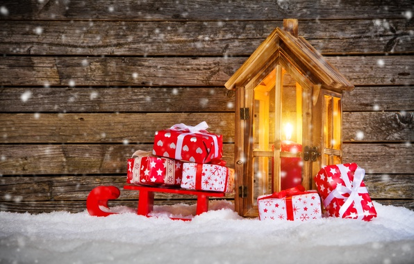 Picture snow, candle, New Year, Christmas, lantern, gifts, sled, winter, snow, merry christmas, decoration