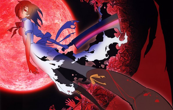 Picture the full moon, red eyes, Higurashi no Naku Koro ni, killer, madness, massacre, cleaver, torn …
