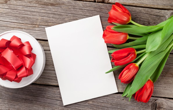 Picture love, flowers, bouquet, tulips, red, love, wood, flowers, romantic, tulips, Valentine's Day, gift