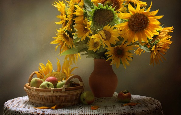 Picture sunflowers, table, basket, apples, vase, still life, yellow, tablecloth