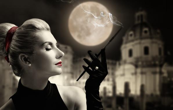 Picture girl, style, retro, the moon, lipstick, ring, cigarette, gloves, profile, mouthpiece