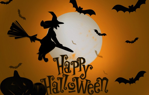 Picture the moon, witch, Halloween, mouse, picture