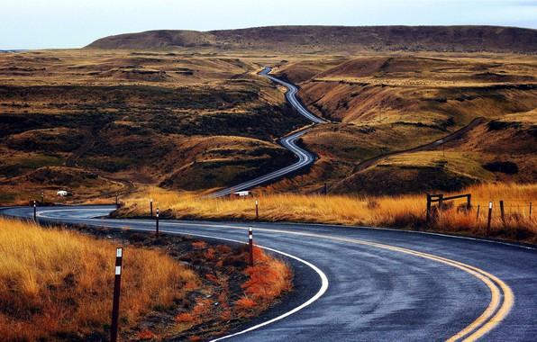 Picture road, hills, serpentine