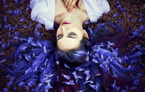Picture girl, mood, flowers, blue hair, Ronny Garcia
