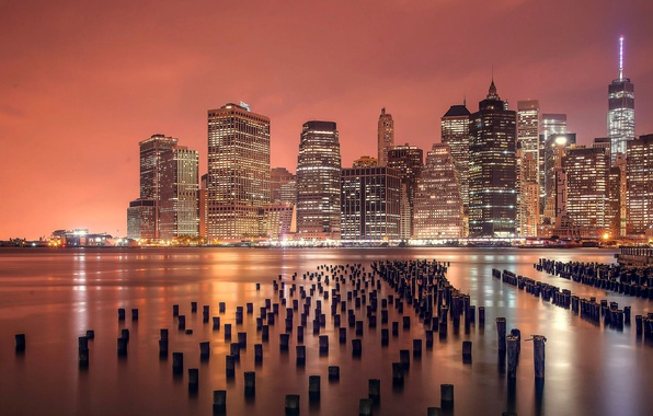 Picture City, Landscape, Manhattan, Sunrise, New-York, River