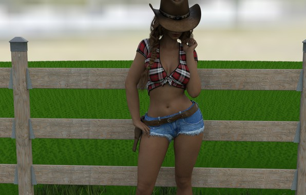 Picture girl, hat, the cowboy