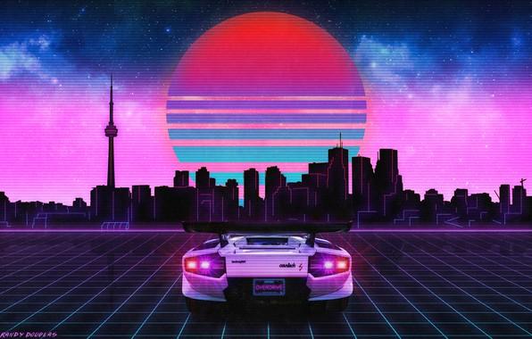 Picture The sun, The sky, Music, The city, Stars, Neon, Lamborghini, Graphics, Lamborghini, Lambordgini, Synthpop, Synth, ...