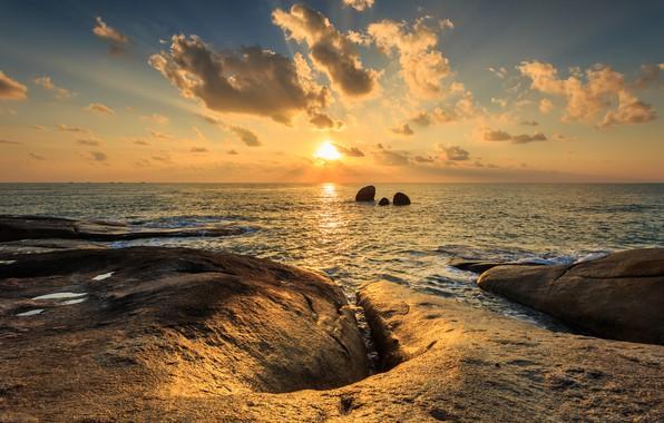 Picture sea, wave, beach, summer, the sky, sunset, stones, rocks, shore, summer, beach, sky, sea, sunset, …