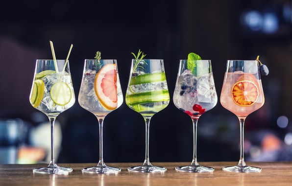 Picture glasses, fruit, drinks, Cocktails