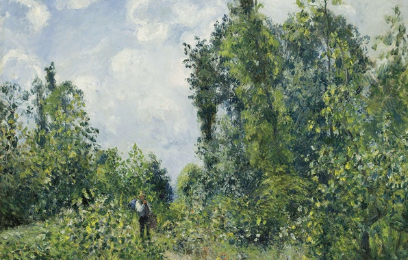 Picture trees, landscape, nature, picture, Camille Pissarro, The traveler Coming from the Forest