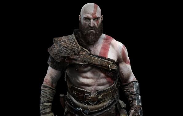 Picture God of war, Black background, Kratos