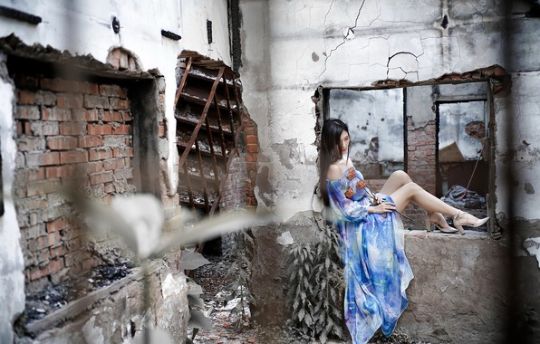 Picture girl, flowers, cracked, pose, wall, mood, blue, feet, the building, dress, brunette, window, ladder, shoes, …