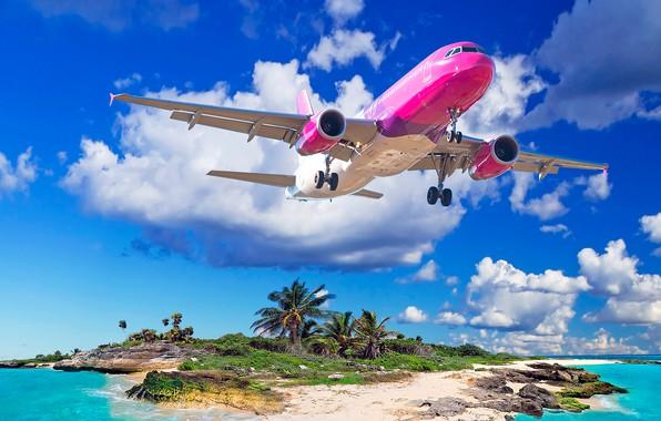 Picture sand, sea, beach, the sky, the sun, clouds, tropics, the plane, stones, palm trees, island, …