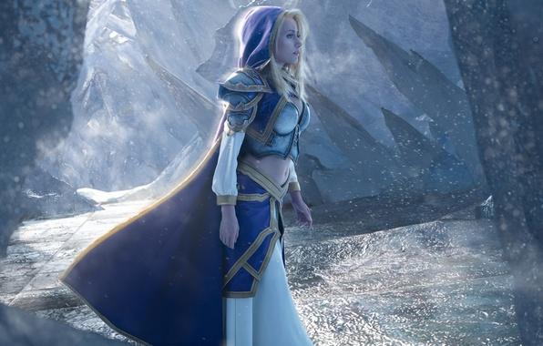 Picture girl, World of Warcraft, game, Warcraft, armor, cosplay, blonde, Jaina Proudmoore, hood