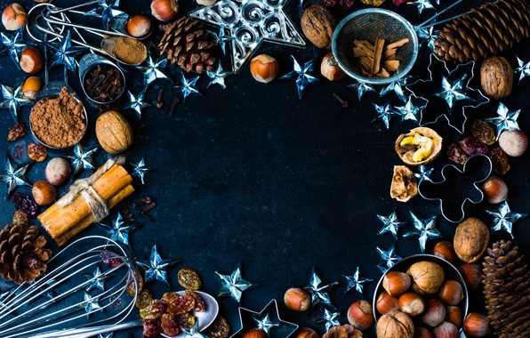 Picture decoration, New Year, Christmas, nuts, cinnamon, happy, Christmas, bumps, New Year, Merry Christmas, Xmas, spices, …