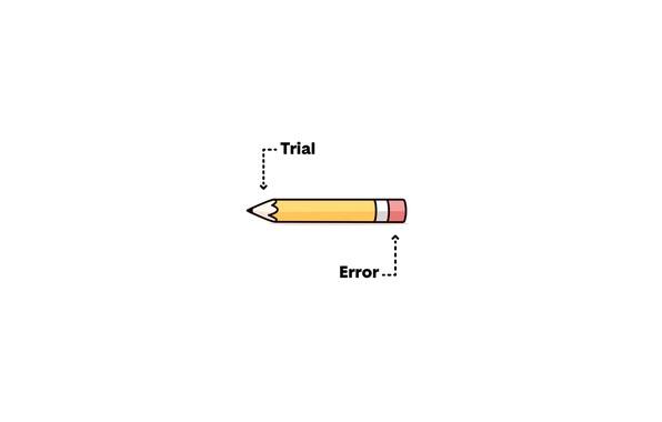 Picture minimalism, trial, error, illustration, humor, white background, simple background, Pencil, eraser